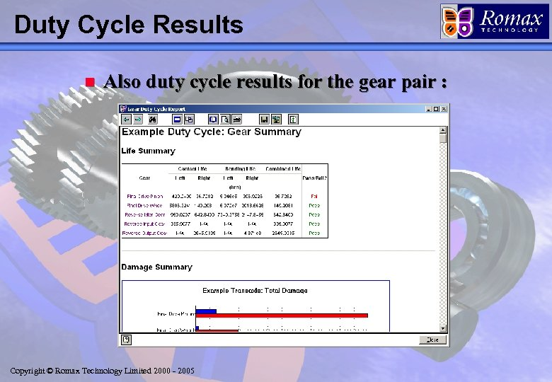 Duty Cycle Results n Also duty cycle results for the gear pair : Copyright