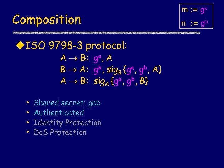 Composition u. ISO 9798 -3 protocol: A B: ga, A B A: gb, sig.