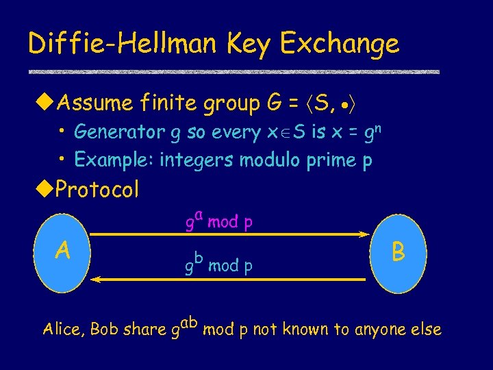 Diffie-Hellman Key Exchange u. Assume finite group G = S, • Generator g so