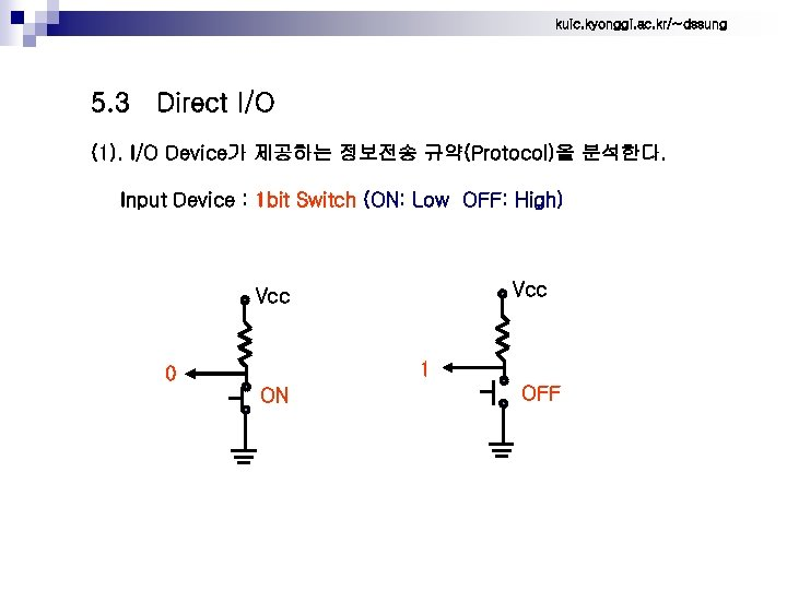 kuic. kyonggi. ac. kr/~dssung 5. 3 Direct I/O (1). I/O Device가 제공하는 정보전송 규약(Protocol)을