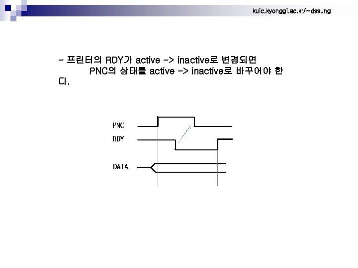 kuic. kyonggi. ac. kr/~dssung - 프린터의 RDY가 active -> inactive로 변경되면 PNC의 상태를 active