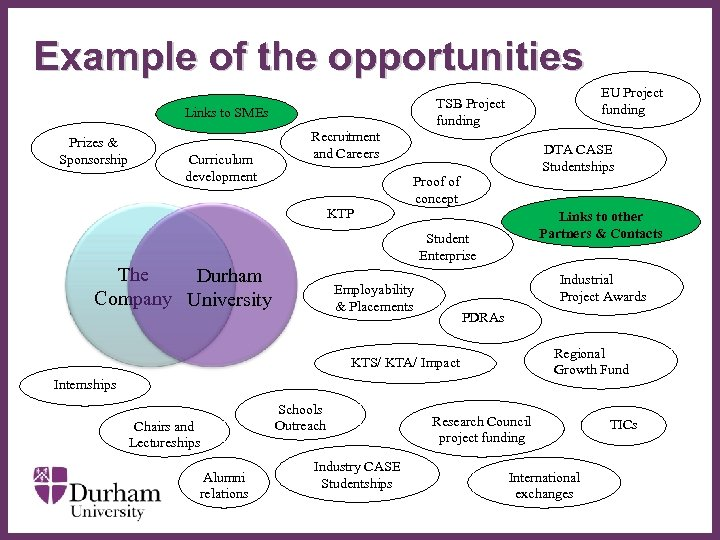Example of the opportunities Links to SMEs Prizes & Sponsorship Curriculum development EU Project