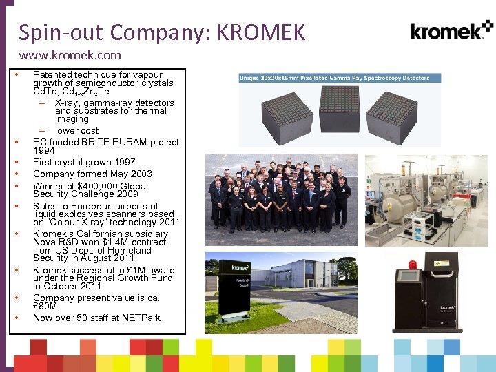 Spin-out Company: KROMEK www. kromek. com • • • Patented technique for vapour growth