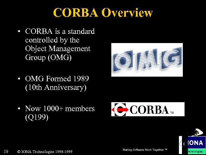 CORBA Overview • CORBA is a standard controlled by the Object Management Group (OMG)