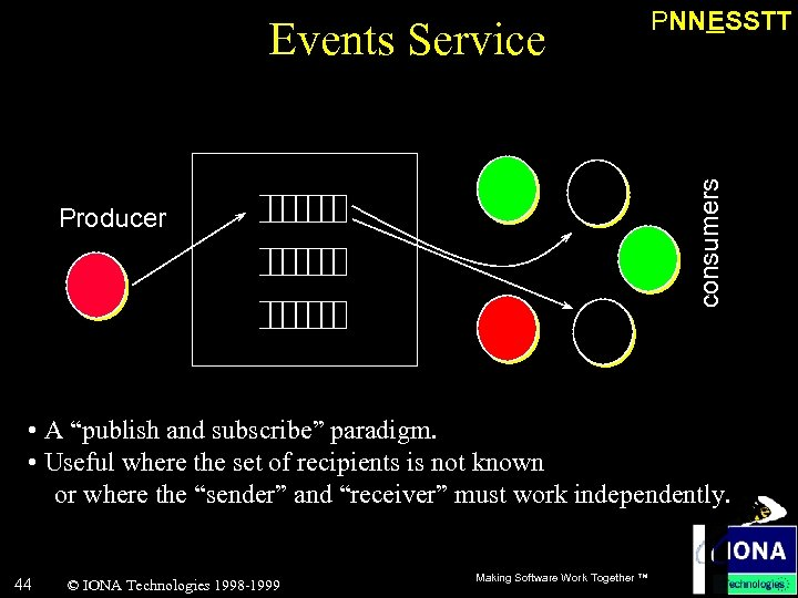 """consumers Events Service PNNESSTT Producer • A """"publish and subscribe"""" paradigm. • Useful where"""
