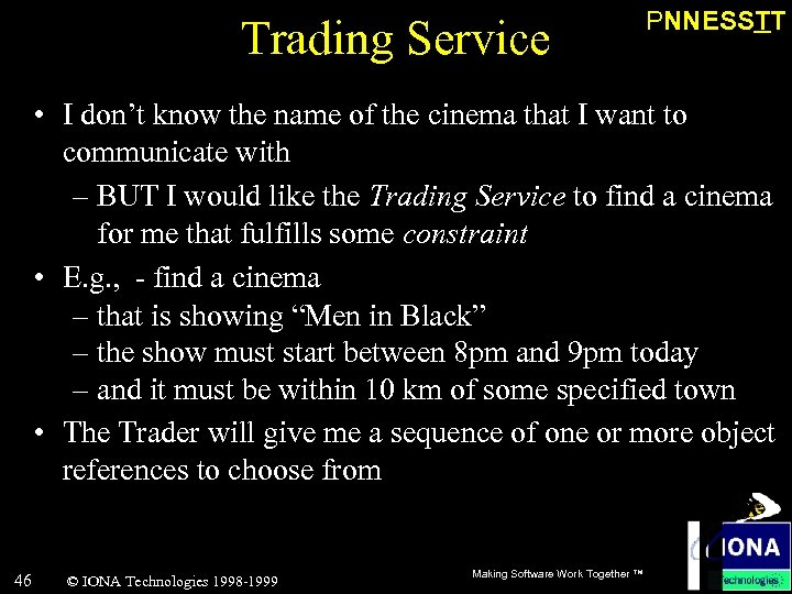 Trading Service PNNESSTT • I don't know the name of the cinema that I