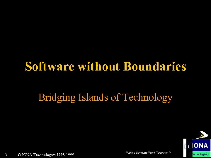 Software without Boundaries Bridging Islands of Technology 5 © IONA Technologies 1998 -1999 Making