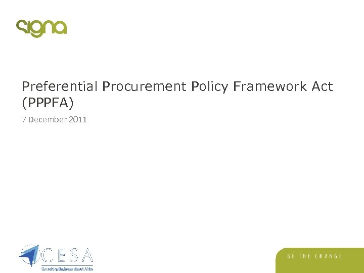 Preferential Procurement Policy Framework Act (PPPFA) 7 December 2011
