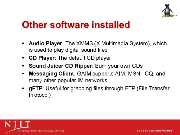 Other software installed • Audio Player: The XMMS (X Multimedia System), which is used