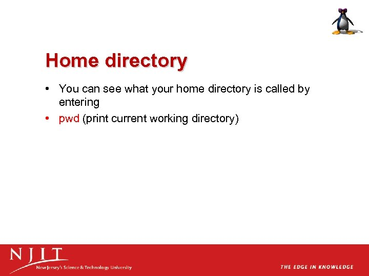 Home directory • You can see what your home directory is called by entering