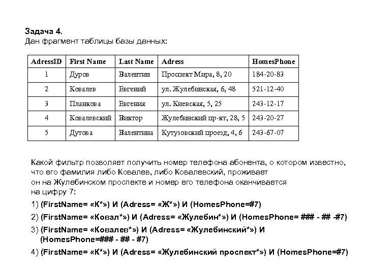 Задача 4. Дан фрагмент таблицы базы данных: Adress. ID First Name Last Name Adress