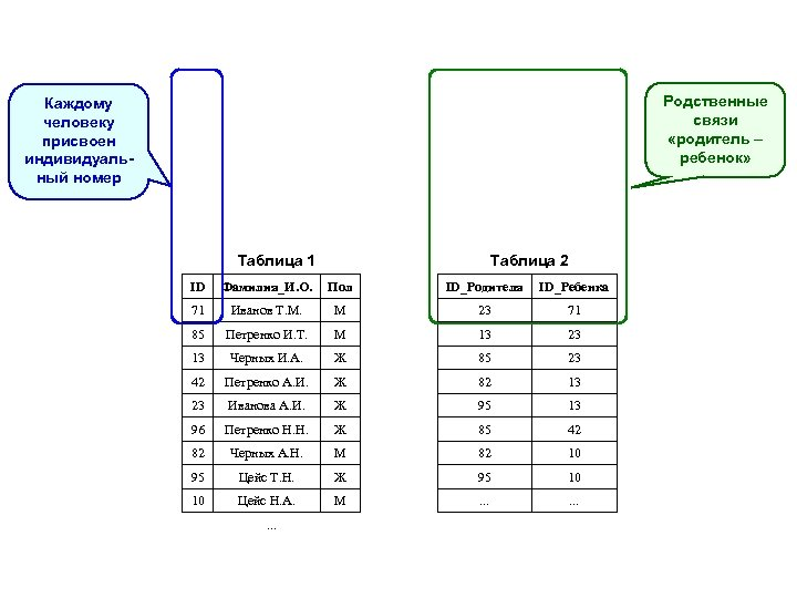Родственные связи «родитель – ребенок» Каждому человеку присвоен индивидуальный номер Таблица 1 Таблица 2