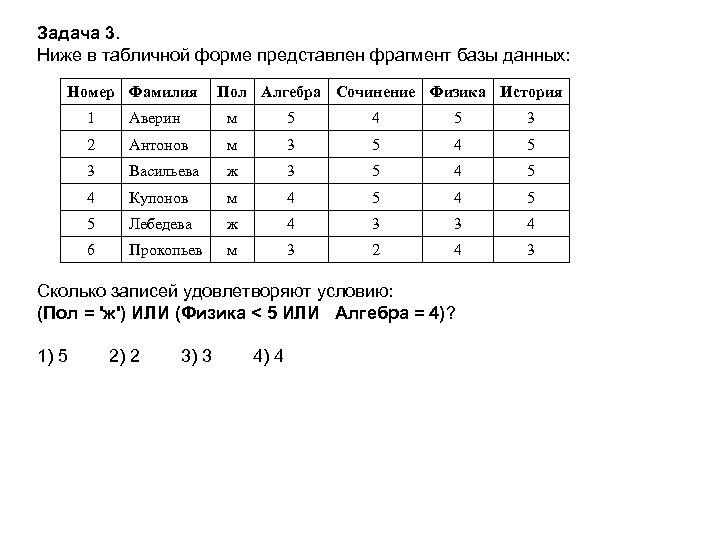 Задача 3. Ниже в табличной форме представлен фрагмент базы данных: Номер Фамилия Пол Алгебра