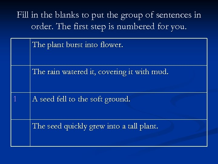 Fill in the blanks to put the group of sentences in order. The first