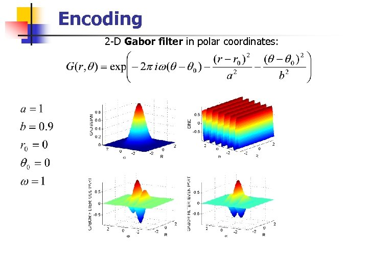 Encoding 2 -D Gabor filter in polar coordinates:
