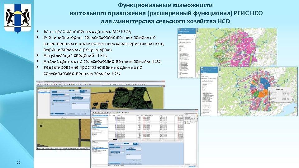 Функциональные возможности настольного приложения (расширенный функционал) РГИС НСО для министерства сельского хозяйства НСО •