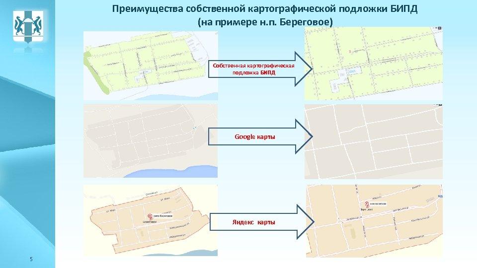 Преимущества собственной картографической подложки БИПД (на примере н. п. Береговое) Собственная картографическая подложка БИПД