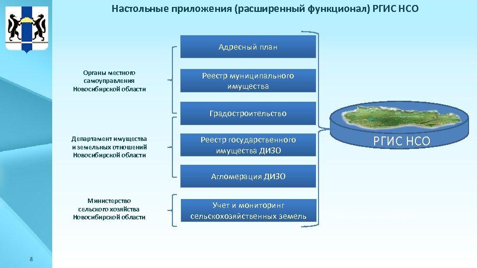 Настольные приложения (расширенный функционал) РГИС НСО Адресный план Органы местного самоуправления Новосибирской области Реестр