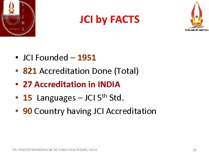 JCI by FACTS • • • JCI Founded – 1951 821 Accreditation Done (Total)
