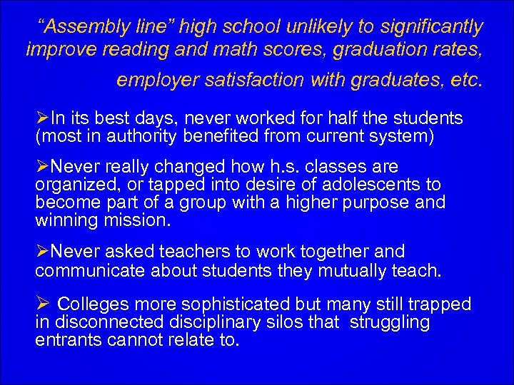"""""""Assembly line"""" high school unlikely to significantly improve reading and math scores, graduation rates,"""