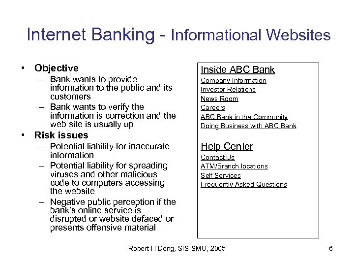 Internet Banking - Informational Websites • Objective – Bank wants to provide information to