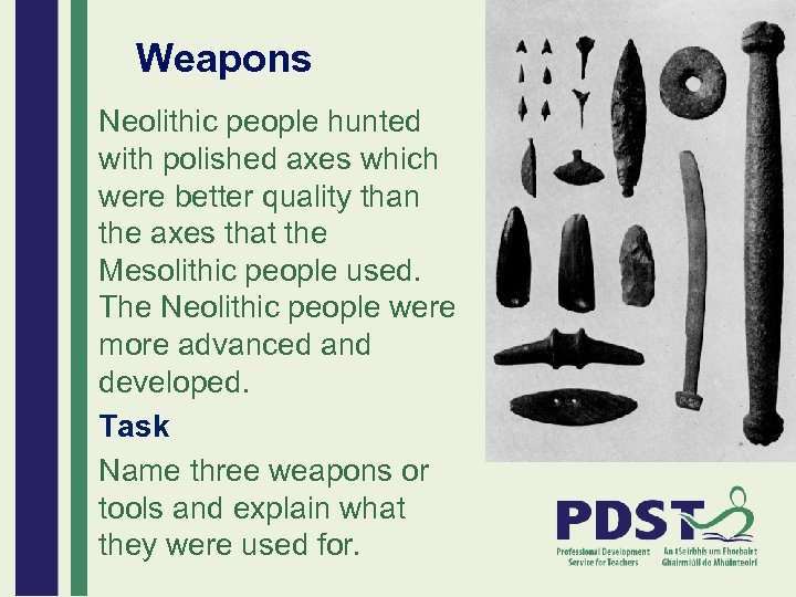Weapons Neolithic people hunted with polished axes which were better quality than the axes