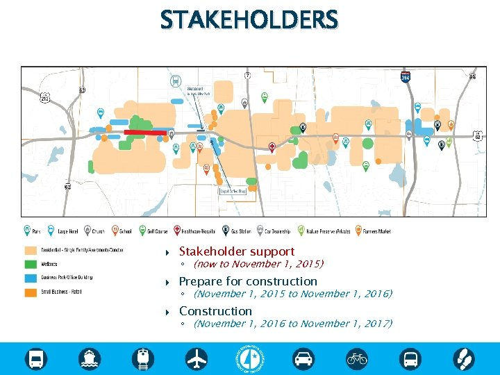 STAKEHOLDERS Stakeholder support Prepare for construction Construction ◦ (now to November 1, 2015) ◦