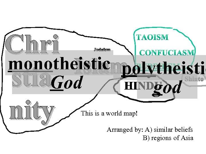 Chri monotheistic polytheistic Islam stia. God god nity Judaism Shinto This is a world