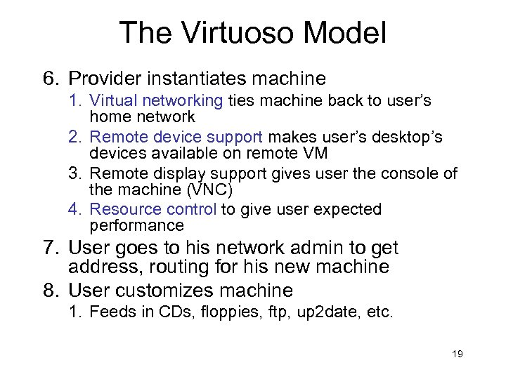 The Virtuoso Model 6. Provider instantiates machine 1. Virtual networking ties machine back to