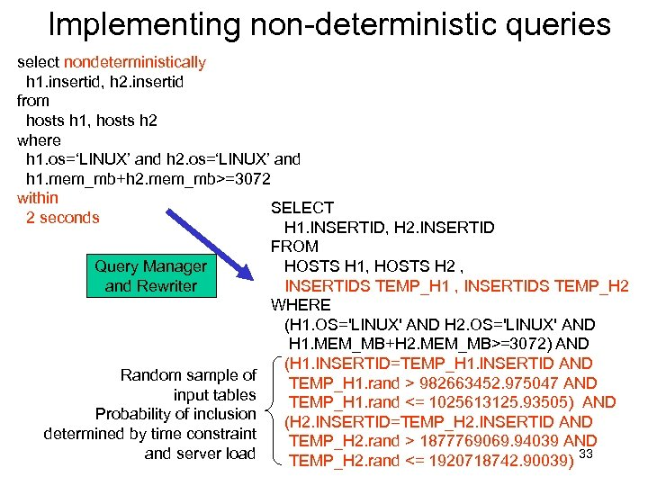 Implementing non-deterministic queries select nondeterministically h 1. insertid, h 2. insertid from hosts h