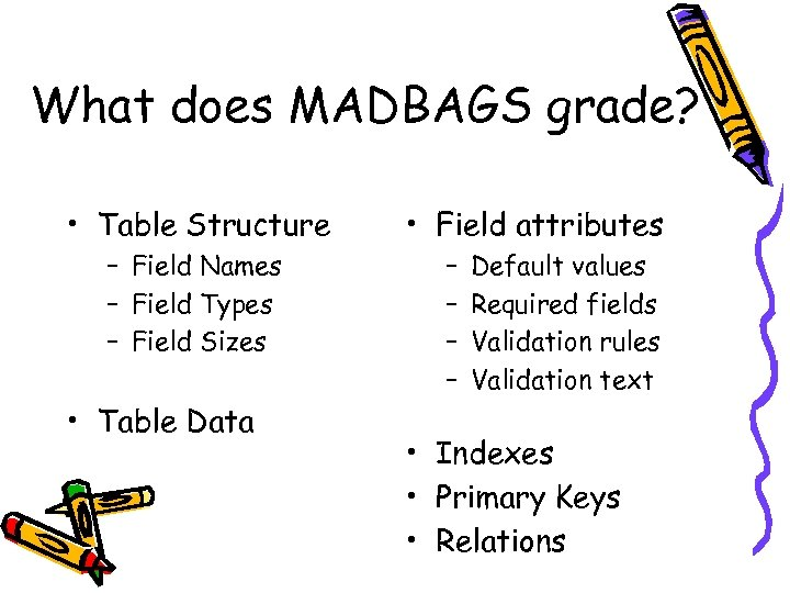 What does MADBAGS grade? • Table Structure – Field Names – Field Types –