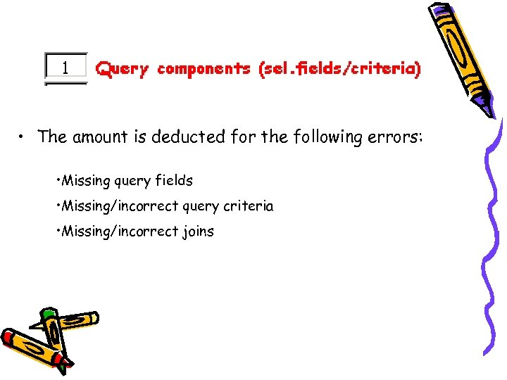 • The amount is deducted for the following errors: • Missing query fields