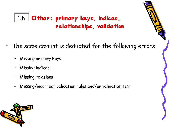 • The same amount is deducted for the following errors: – Missing primary