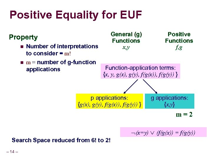 Positive Equality for EUF General (g) Functions x, y Property n n Number of