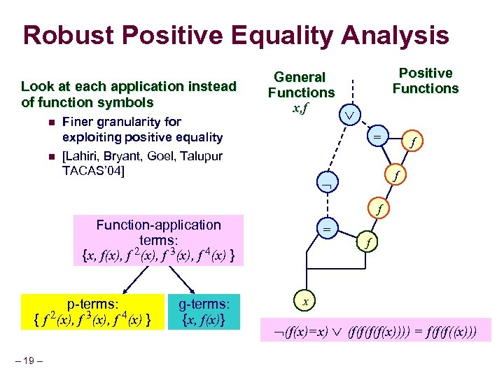 Robust Positive Equality Analysis Look at each application instead of function symbols n n