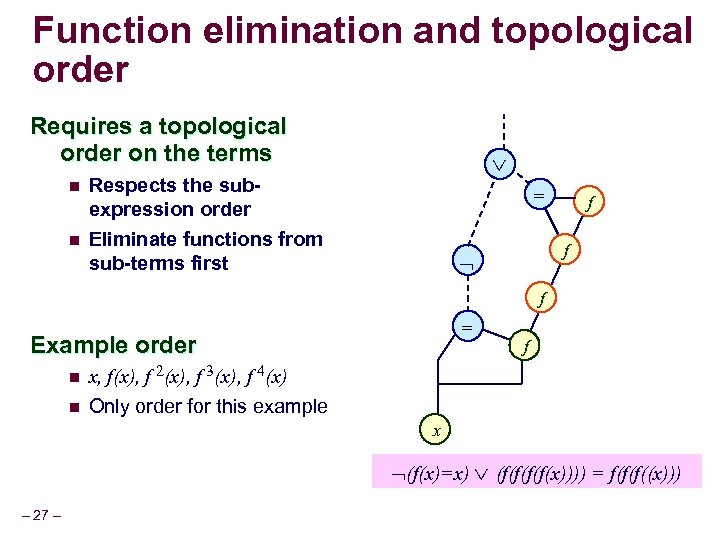Function elimination and topological order Requires a topological order on the terms n n