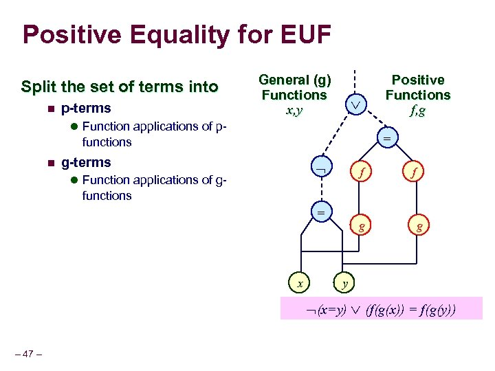 Positive Equality for EUF Split the set of terms into n p-terms General (g)