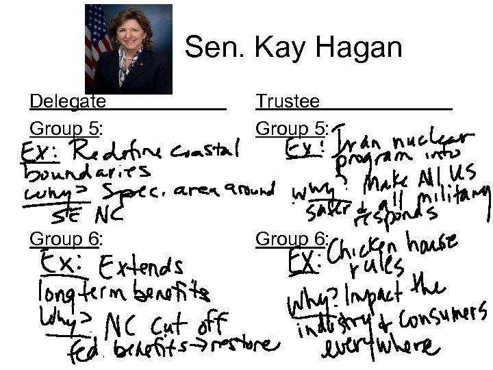 Sen. Kay Hagan Delegate Group 5: Trustee Group 5: Group 6: