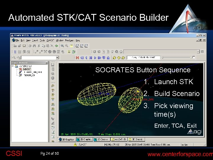 Automated STK/CAT Scenario Builder Q SOCRATES Button Sequence 1. Launch STK 2. Build Scenario