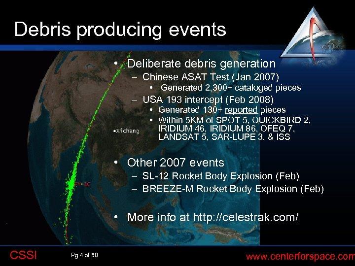 Debris producing events Q • Deliberate debris generation – Chinese ASAT Test (Jan 2007)