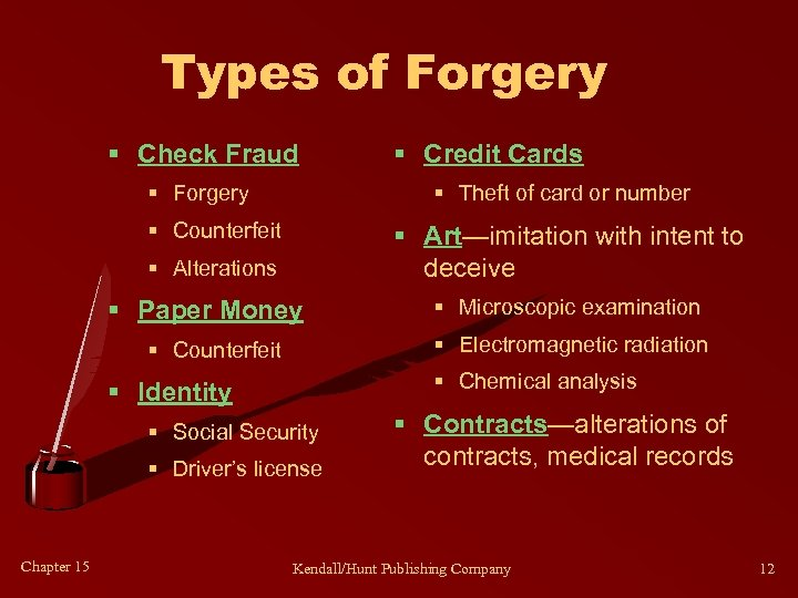 Types of Forgery § Check Fraud § Forgery § Theft of card or number