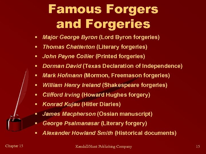 Famous Forgers and Forgeries § Major George Byron (Lord Byron forgeries) § Thomas Chatterton