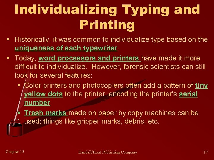 Individualizing Typing and Printing § Historically, it was common to individualize type based on
