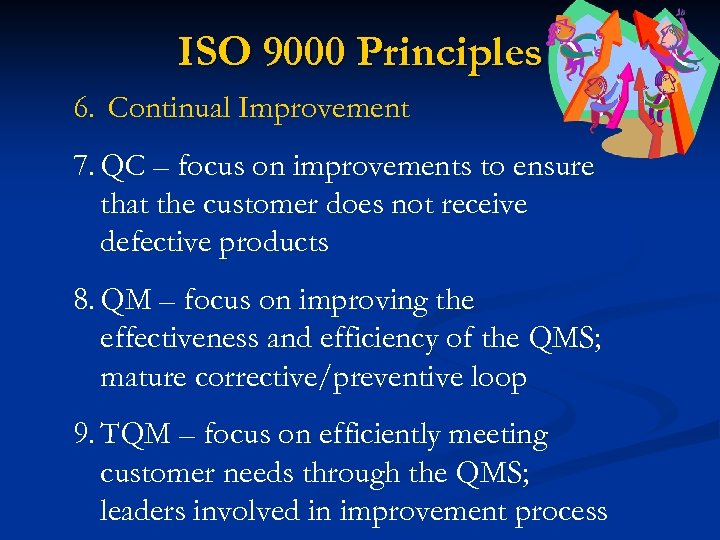 ISO 9000 Principles 6. Continual Improvement 7. QC – focus on improvements to ensure