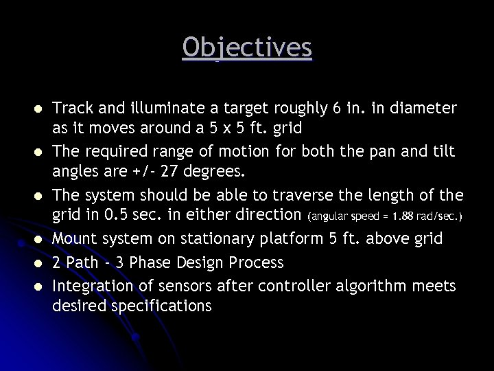 Objectives l l l Track and illuminate a target roughly 6 in. in diameter