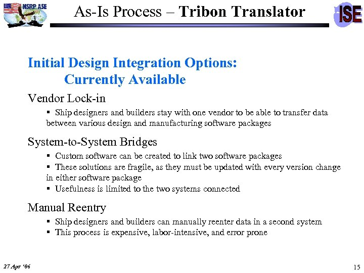 As-Is Process – Tribon Translator Initial Design Integration Options: Currently Available Vendor Lock-in §