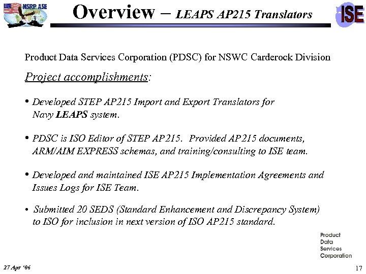 Overview – LEAPS AP 215 Translators Product Data Services Corporation (PDSC) for NSWC Carderock