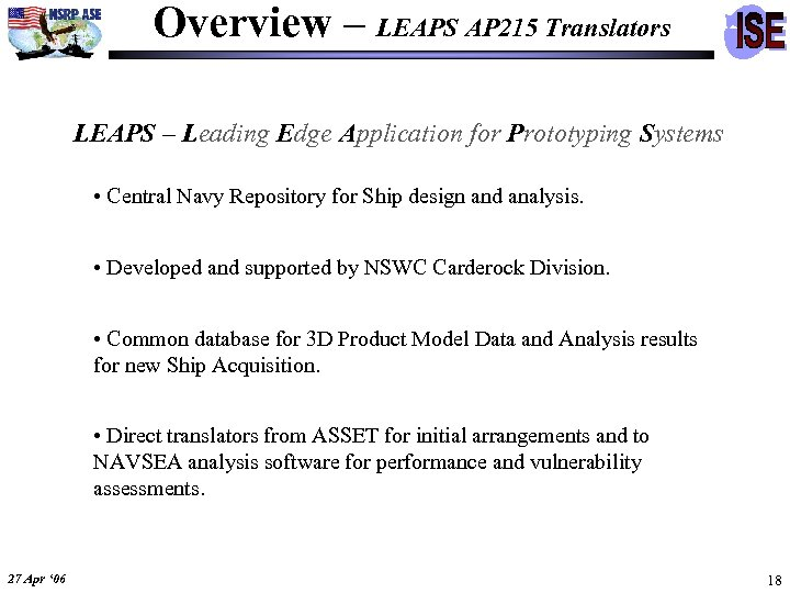 Overview – LEAPS AP 215 Translators LEAPS – Leading Edge Application for Prototyping Systems