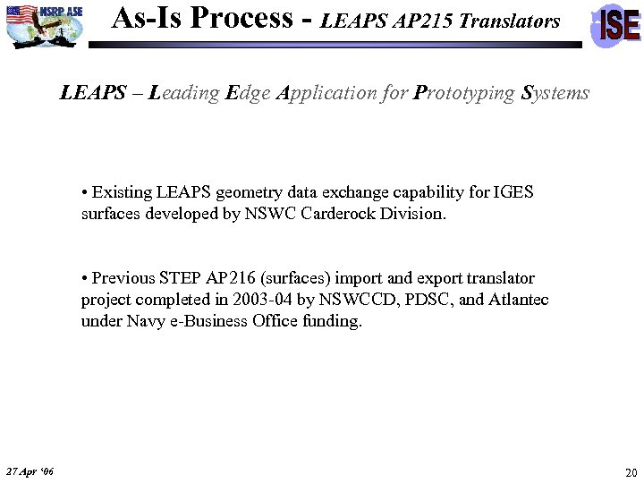 As-Is Process - LEAPS AP 215 Translators LEAPS – Leading Edge Application for Prototyping