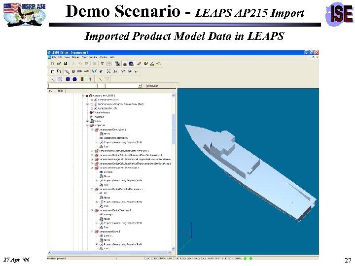 Demo Scenario - LEAPS AP 215 Imported Product Model Data in LEAPS 27 Apr